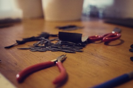 Prepping inner tubes for jewelry