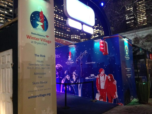 Entrance to Bank of America Winter Village at Bryant Park