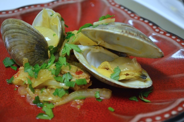 Comforting dish of little neck clams paired with chorizo and caramelized fennel
