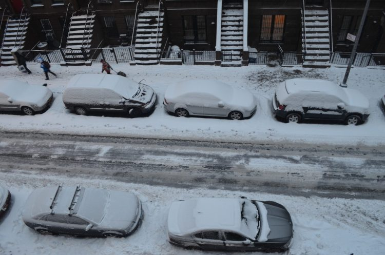 Snowy Parked Cars in New York City