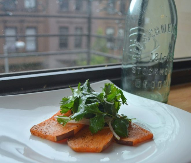 Baked Yams With Garden Cilantro Salad