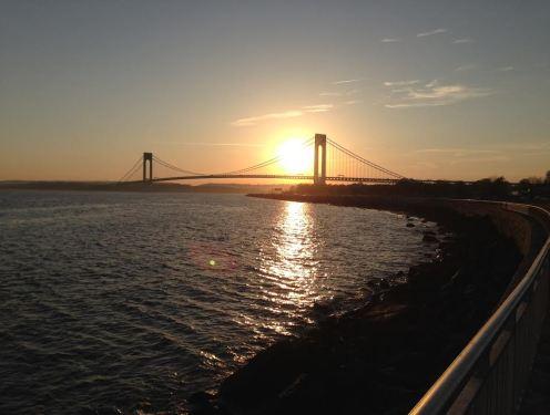 Brooklyn Bike Ride with the Verazzano-Narrows Bridge in the Background