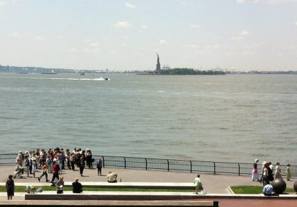 View of the Statue of Libery in the New York Harbor from Battery Park City