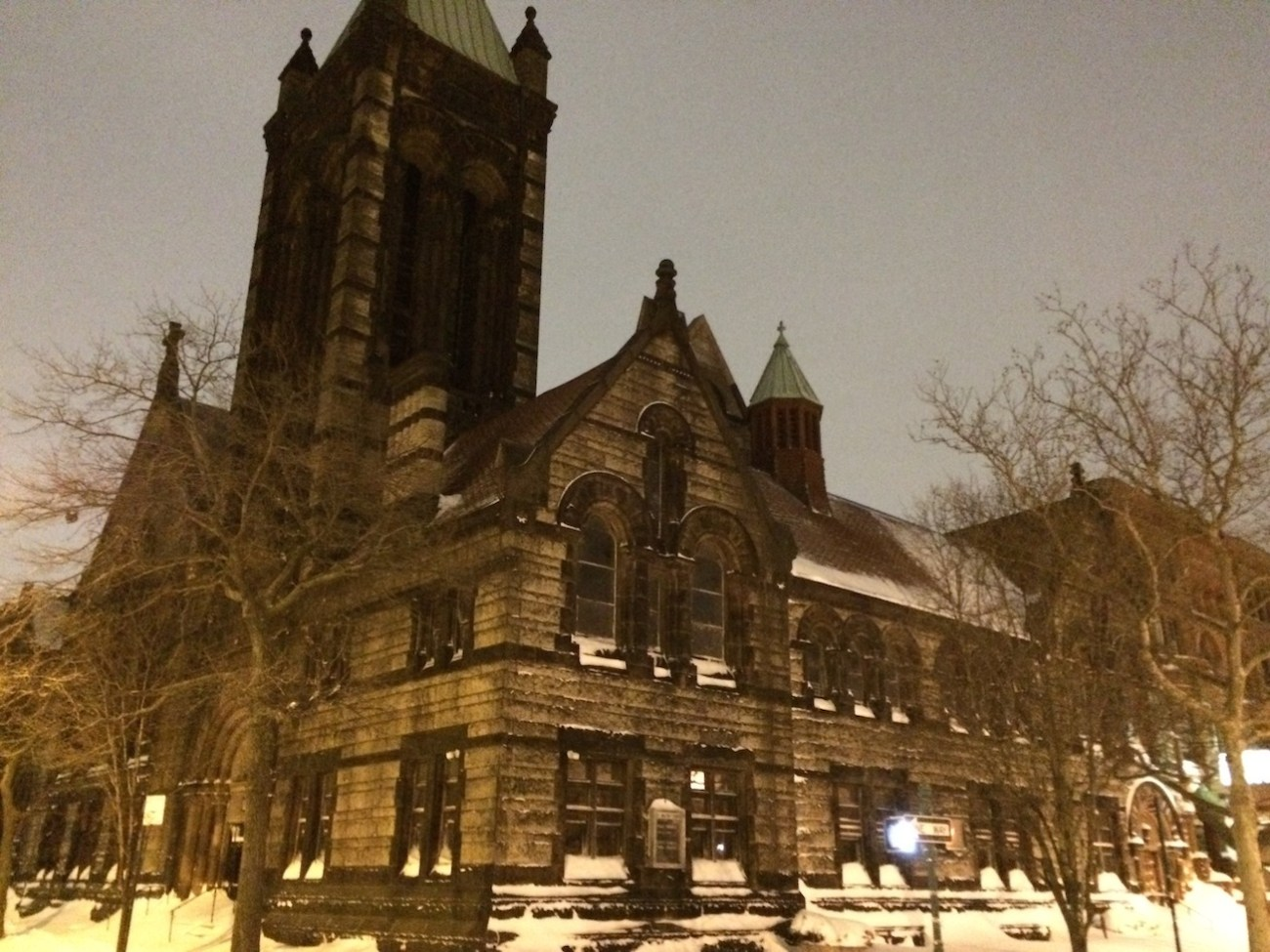 Harlem Church at Night Dusted with Snow