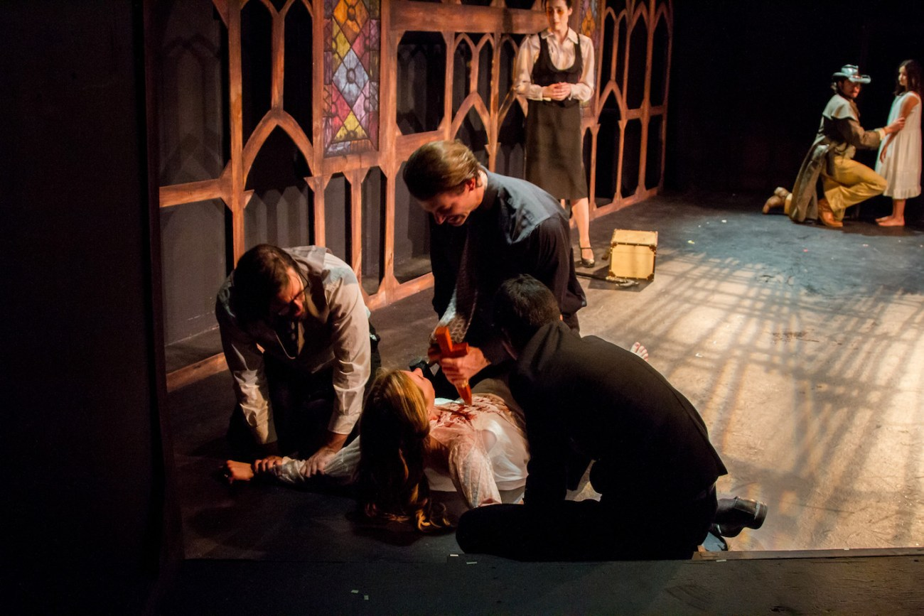 Dr. Seward, Jonathan Harker, and Arthur Holmwood Finish  Vampire Lucy While Van Helsing and Quincey Look On