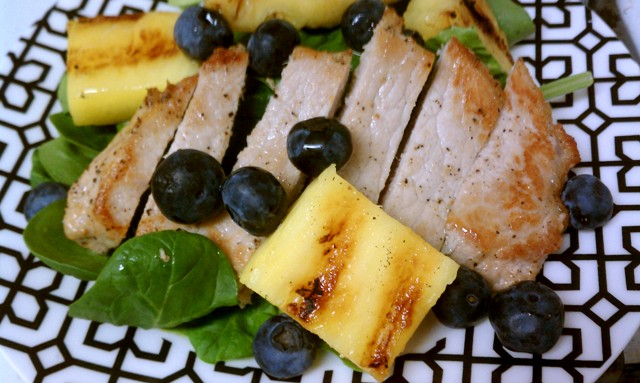 Pork and Spinach Salad with Fresh Blueberries and Grilled Pineapples