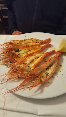 Roasted Prawns in Fumicino Italy