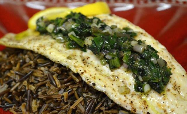 Rainbow Trout with Sauteed Ramps over Wild Rice