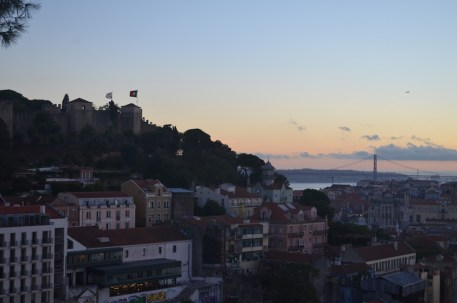 Sun setting on Lisbon