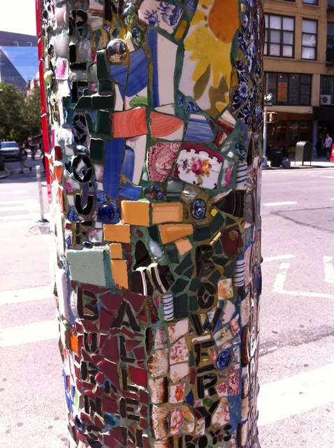 Mosaic lamppost East Village