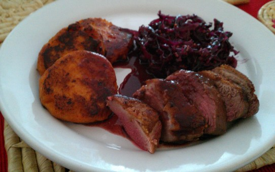 Duck breasts with sweet potato cakes and red cabbage