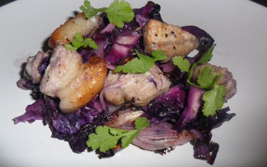 Coriander-crusted pork with sweet & sour cabbage