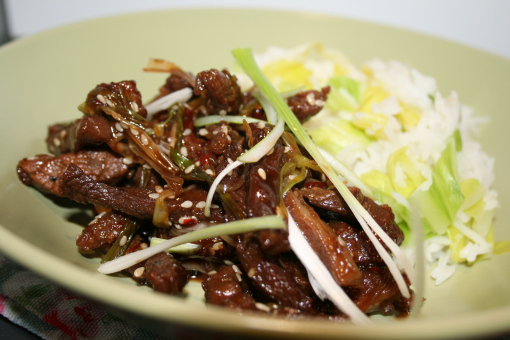Sweet chilli beef with rice