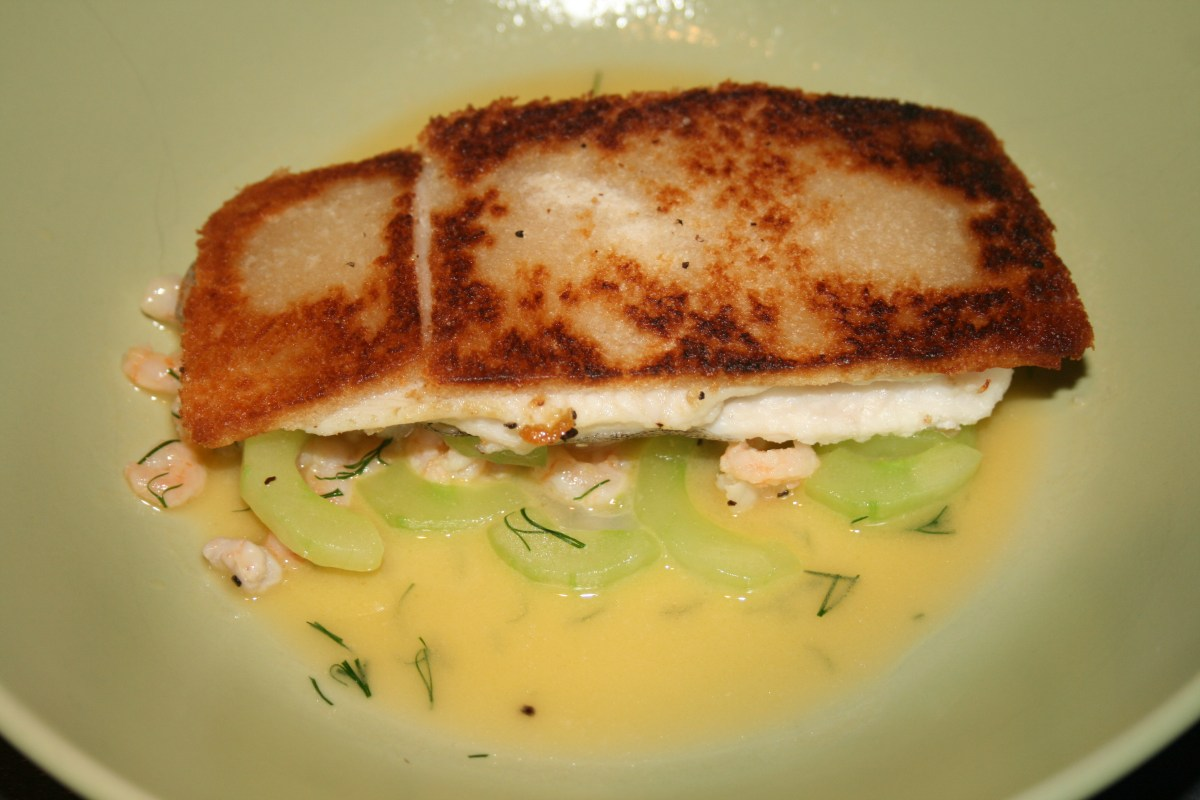 Heston Blumenthal's Crispy lemon sole with potted shrimps and cucumber