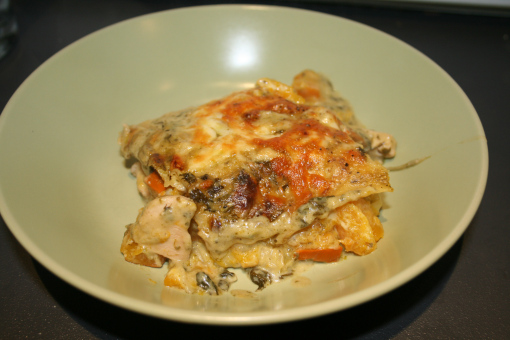 Chicken, Butternut Squash and Pesto Lasagne