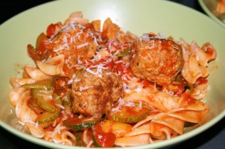 Turkey Meatballs with Courgette Olive Sauce