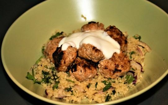 Harissa chicken meatballs with bulgar wheat