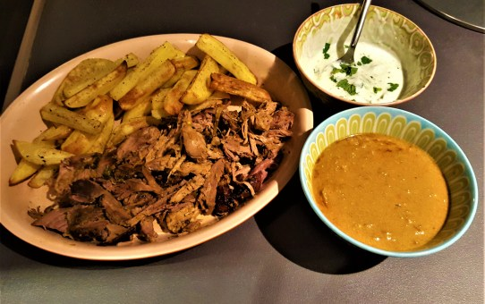 Curried pulled lamb