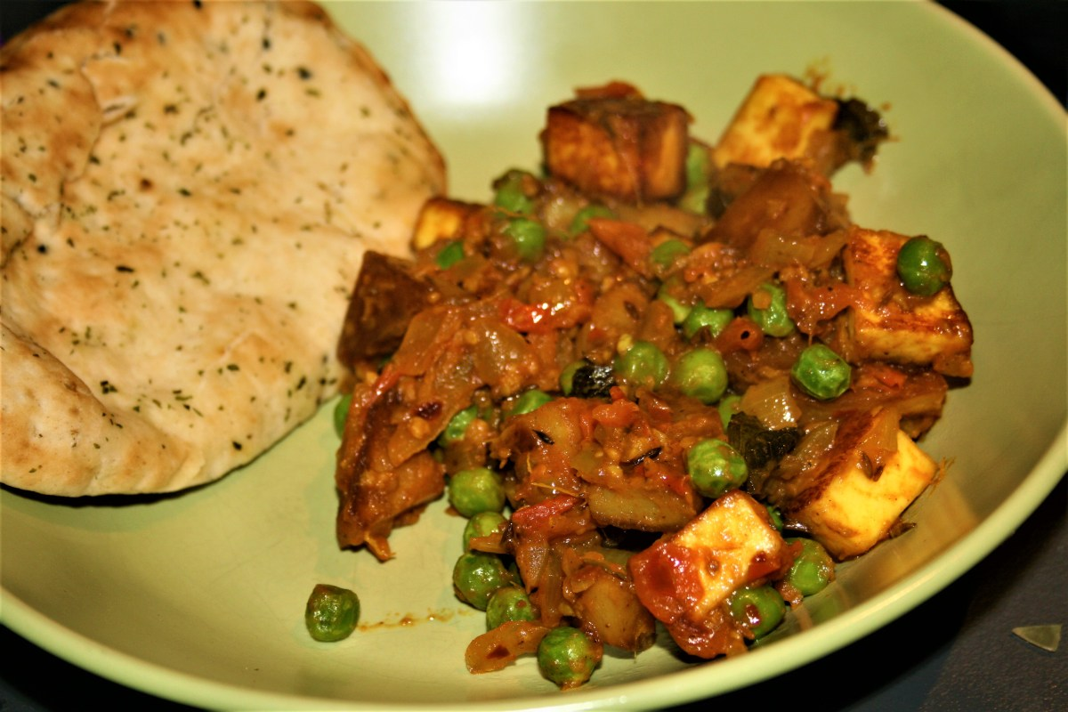 Rick Stein's spicy fried potato curry with paneer and peas