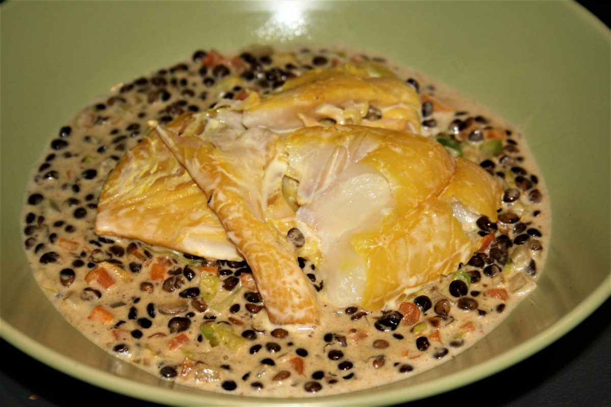 Nigel Slater's smoked haddock with creamed lentils