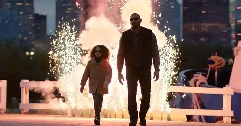 My Spy - Sophie (Chloe Coleman) and JJ (Dave Bautista) walk away from an explosion
