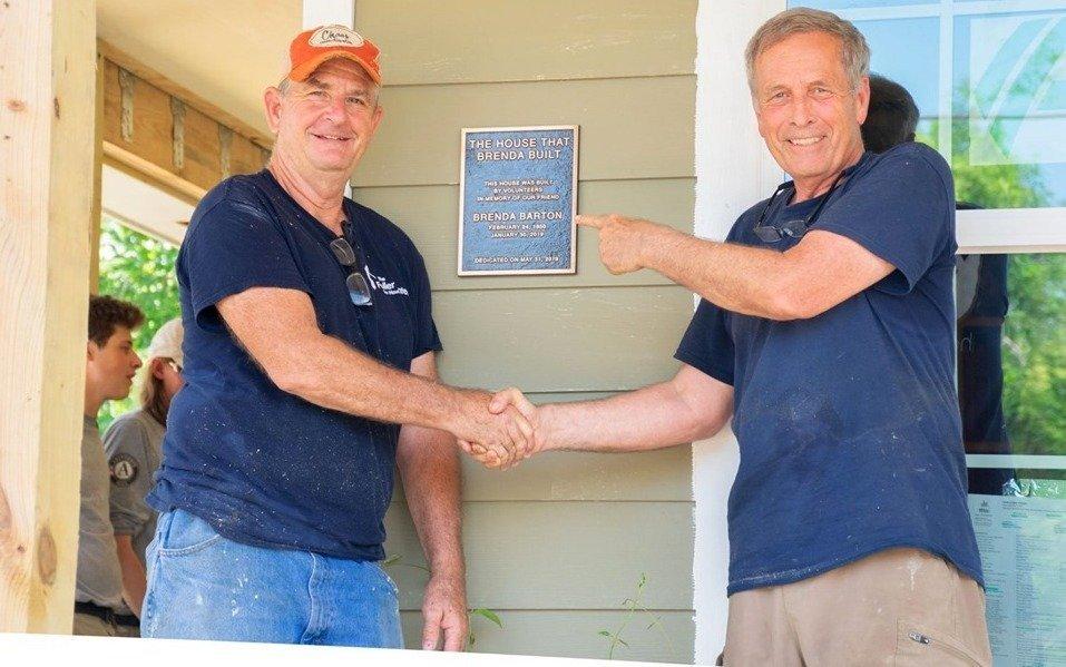 Peter Salemme and Bart Tucker at the Brenda Barton Memorial Build in Dickinson, Texas.