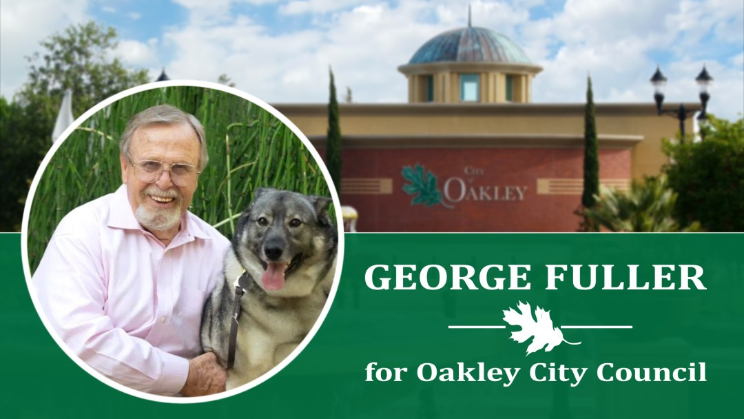 Picture Oakley City Hall against blue sky with white clouds, George, white male, grey goatee, blond hair, pink shirt, with Ivar, Norwegian Elkhound, service dog, with green reeds in background