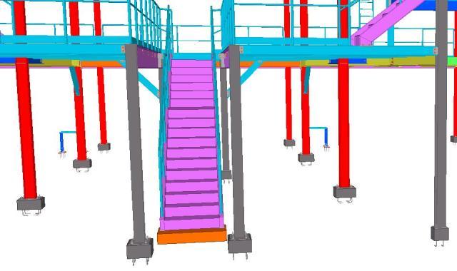 Detalhe da escada - Modelo 3D da Estrutura Metálica do Galpão