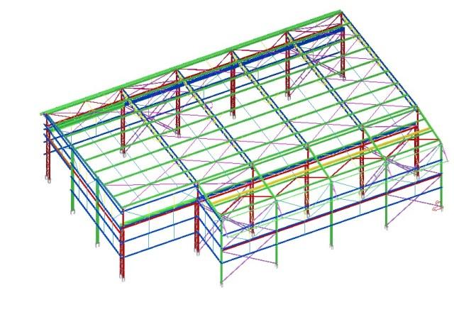 Modelo 3D - Estrutura do Galpão Metálico