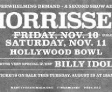 Morrissey w/ Billy Idol @ Hollywood Bowl November 11 Tickets On Sale Today