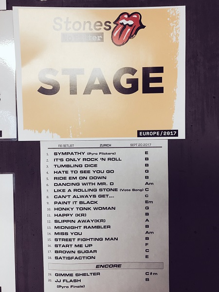 Setlist: Rolling Stones in Zurich, Switzerland 2017
