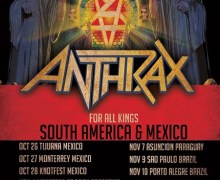 Anthrax 2017 South America/Mexico Tour Launches + 2018 North America, US
