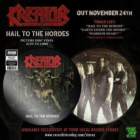Kreator 'Hail to the Hordes' Picture Disc on Record Store Day Black Friday