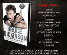 Bruce Dickinson UK Book Signing Tour, Dates, Waterstones, Southhampton, Bristol, Cardiff