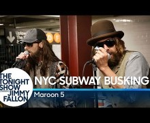 Maroon 5 & Jimmy Fallon Perform in New York City Subway