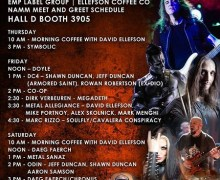 EMP Label Group NAMM 2018 David Ellefson Schedule, Odin, Marc Rizzo, MIKE PORTNOY, ALEX SKOLNICK