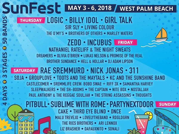 sunfest 2018 lineup announced schedule west palm beach tickets billy idol incubus cake living. Black Bedroom Furniture Sets. Home Design Ideas
