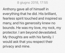 Anthony Bourdain's Girlfriend Asia Argento: Statement Released
