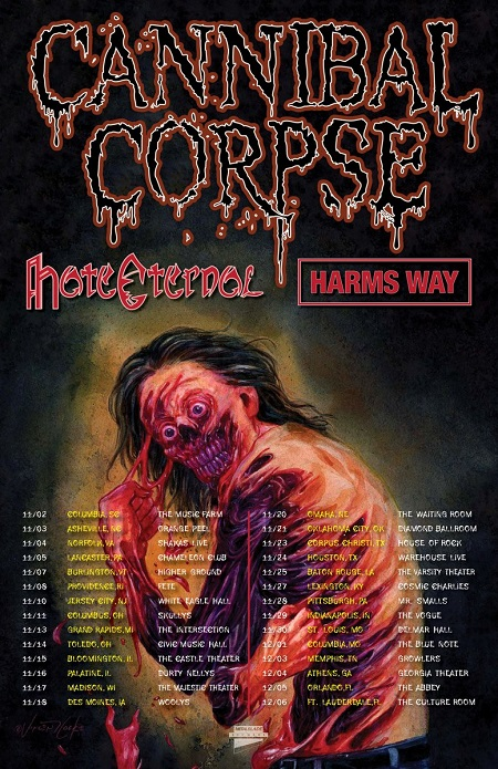 Cannibal Corpse 2018 Tour Announced w/ Hate Eternal & Harm's Way - U.S.