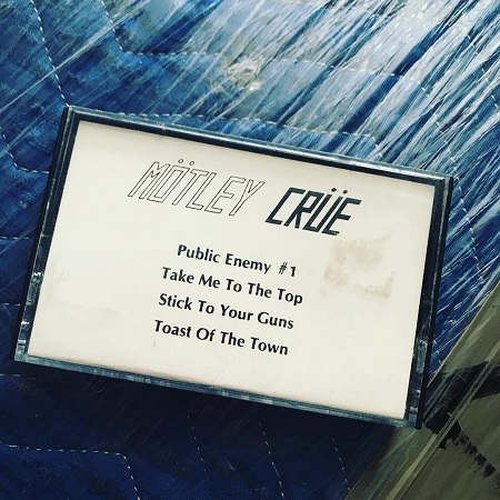 """Mötley Crüe Leathür Records Cassette Demo w/ """"Public Enemy #1"""" """"Take Me To The Top"""" """"Stick To Your Guns"""" """"Toast Of The Town."""""""