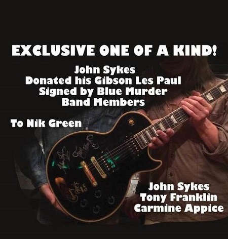 John Sykes Gibson Les Paul Auction - Signed by Blue Murder - Carmine Appice, Tony Franklin