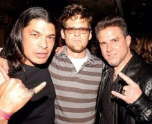 "Ron McGovney, ""Metallica Rock and Roll Hall of Fame induction in Cleveland"" Jason Newsted, Rob Trujillo"