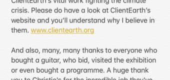 Pink Floyd:  David Gilmour Guitar Auction Statement 2019
