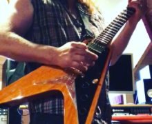 "Tesla's Frank Hannon, ""Horsing around on my Joe Bonamassa signature Amos Flying V"""