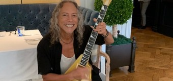 Today Kirk Hammett Received His First ESP USA V-1 In Metallic Gold