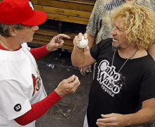 "Sammy Hagar: ""Tony La Russa showing me how to throw a baseball properly"" – Flashback Friday – 2007"