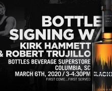 Metallica's Kirk Hammett & Robert Trujillo 2020 Whiskey Bottle Signing – Columbia, SC – Bottles Beverage Superstore – BLACKENED