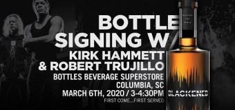 Metallica's Kirk Hammett & Robert Trujillo 2020 Whiskey Bottle Signing – Columbia, SC – Bottles Beverage Superstore – BLACKENED