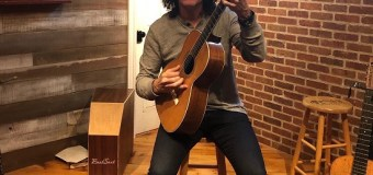 "Tommy Thayer, ""Here I am with Joan Baez' 1880 Martin D-40"""