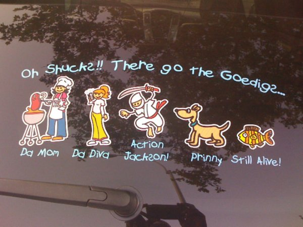 family sticker on a cars window glass